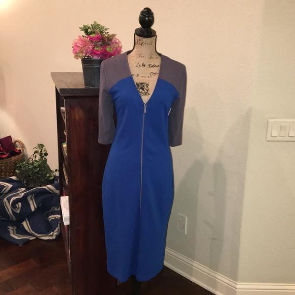 06c4606cd82b1 Baukjen Dresses & Skirts - Curvy Body Con Blue & Gray Zipper Dress Baukjen